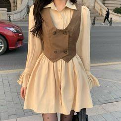 Avox(アヴォクス) - Long-Sleeve Mini A-Line Shirtdress / Double-Breasted Vest
