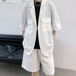 Citigleam - Set: Short-Sleeve Striped Blazer + Shorts