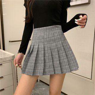 Yako - Pleated Plaid Mini Skirt
