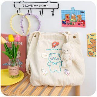 Momoi(モモイ) - Bear Embroidered Corduroy Tote Bag