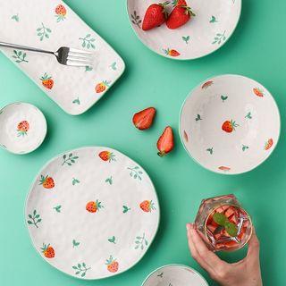 Kawa Simaya - Strawberry Print Ceramic Plate / Bowl