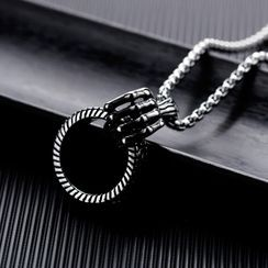 Tenri - Palm & Hoop Pendant Stainless Steel Necklace
