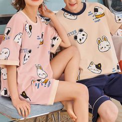 Lion Sniff - Couple Matching Loungewear Set : Short-Sleeve Animal Print Top + Shorts