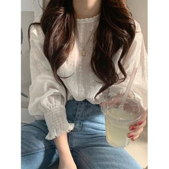 ever after - Embroidered Eyelet Lace Blouse