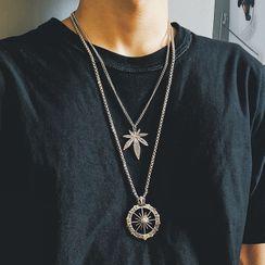 Moska - Compass Necklace / Leaf Necklace / Set