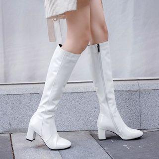 Shoes Galore - Block Heel Side Zip Knee High Boots