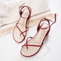 Anran - Ankle-Strap Square-Toe Chunky-Heel Sandals