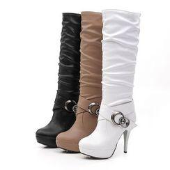 YOUIN - High-Heel Platform Tall Boots