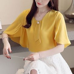 Louise - Elbow-Sleeve Faux Pearl Chiffon Top