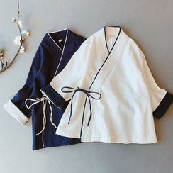 Vateddy - Long-Sleeve Traditional Chinese Wrap Top