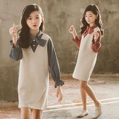 PAM - Kids Mock Two-Piece Bell-Sleeve Mini Dress