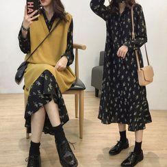 Planetary - Long-Sleeve Floral Print Midi A-Line Dress / Knit Vest / Set