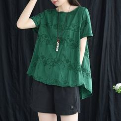 Mumame - Short-Sleeve Embroidered Floral Tunic Top