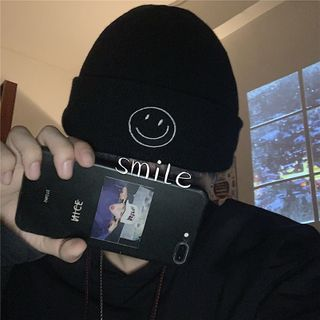 Koiyua - Smiley Face Embroidered Beanie