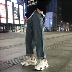 YERGO - Lettering Straight-Leg Jeans