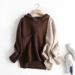 Aigan - Paneled Knit Hoodie
