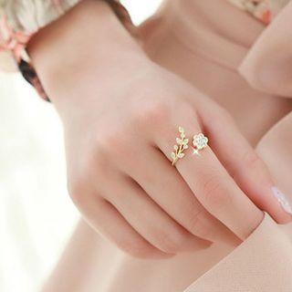 YUGGI - 水鑽花形開口戒指 (多款設計)