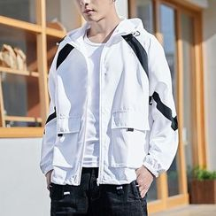 Carser - Colored Panel Hooded Zip Jacket