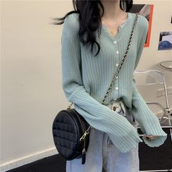 PINPI - V-Neck Long-Sleeve Ribbed Cardigan