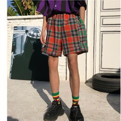 Koiyua - Color Block Plaid Shorts
