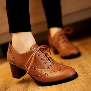 Megan - Block Heel Oxford Shoes