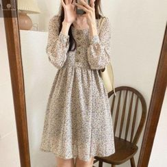 Elvik - Long-Sleeve Floral Print Midi A-Line Dress
