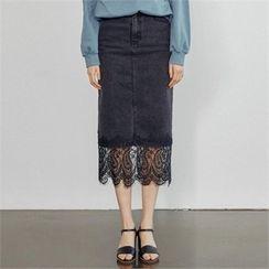 MAGJAY - Lace-Hem Denim Skirt