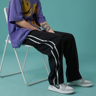 JUN.LEE - Contrast-Stripe Drawstring Sweatpants