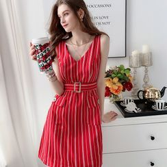 Dabuwawa - Striped Sleeveless A-Line Dress