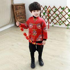 Piggy & Kids - Kids Set: Embroidered Frog Buttoned Top + Inset Short Leggings