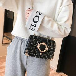 Perlin - Chain Strap Round Buckle Flap Crossbody Bag