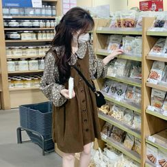 Closette - Peter Pan Collar Patterned Blouse / Corduroy Mini Overall Dress