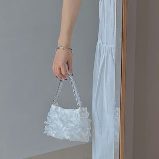NiniChloe - Beaded Ruffled Shoulder Bag