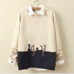 Mushijan - 混色毛衣 / 貓刺繡襯衫 / 毛衣