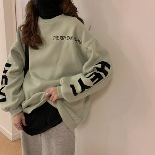 PINPI - Long-Sleeve Letter Embroidered Sweatshirt