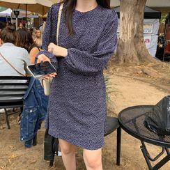UPTOWNHOLIC - Round-Neck Tie-Waist Dotted Dress