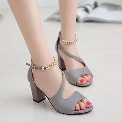 KONIN - Block-Heel Embellished Sandals