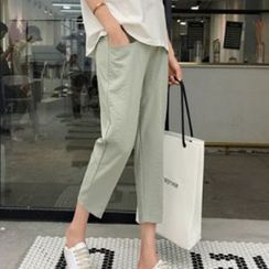 Hiccup(ヒカップ) - Maternity Cropped Linen Pants