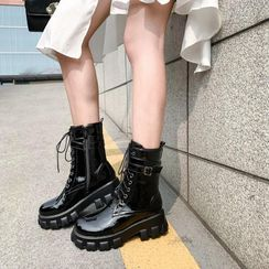 JY Shoes(JYシューズ) - Faux Leather Lace-Up Platform Short Boots