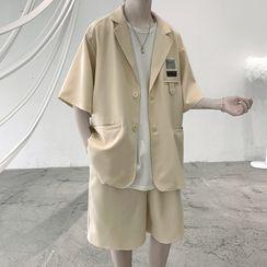 VEAZ - Short-Sleeve Applique Button-Up Blazer