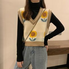 CEYX - Sunflower Print Vest / Long-Sleeve Turtleneck Top