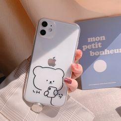 kloudkase - Bear Print Transparent Phone Case - iPhone 12 Pro Max / 12 Pro / 12 / 12 mini / 11 Pro Max / 11 Pro / 11 / SE / XS Max / XS / XR / X / SE 2 / 8 / 8 Plus / 7 / 7 Plus / 6 / 6 Plus