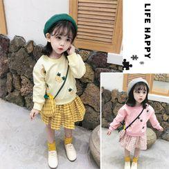Ohori - 套裝: 小童菠蘿刺繡套衫 + 格子迷你A字裙