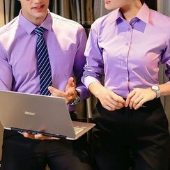 COOLIN - Couple Matching Plain Dress Shirt / Dress Pants
