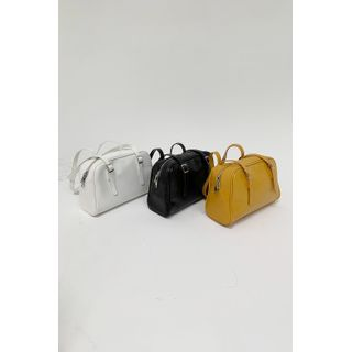 SIMPLY MOOD - Patent Faux-Leather Boston Bag