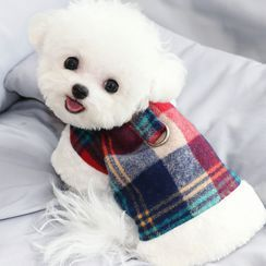 Bixin - Fleece-lined Plaid Pet Top