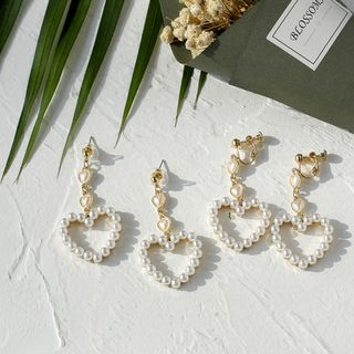 Ginga - Faux Pearl Heart Drop Earrings