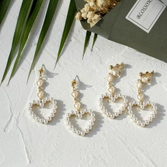Ginga - Faux Pearl Heart Drop Earrings