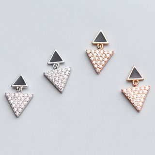 A'ROCH(エーロック) - 925 Sterling Silver Rhinestone Triangle Drop Earring