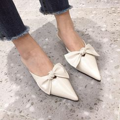 Anran - Low Heel Bow Pointy Mules